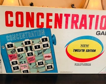 Vintage 1968 Concentration Board Game 12th Edition by Milton Bradley