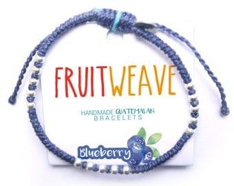 BLUEBERRY CLASSIC BRACELET, Guatemalan Bracelets, Handmade bracelets, colorful bracelets, fruit based, fruit weave, friendship bracelets.