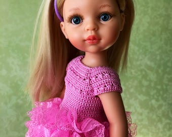 Clothes for Corolle Les Cheries, Paola Reina Doll Dress, Pink Crochet Doll Dress