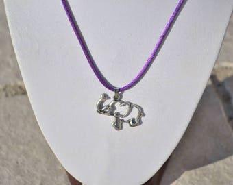 elephant openwork pendant + purple cord