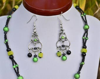 Green and black earrings