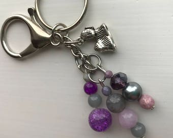 Keychains for Women, Shih Tzu Keychain, Beaded Bag Charm, Shih Tzu Gift, Purse Charm for Handbags, Gift for Dog Lover, Dog Keychain, Purple