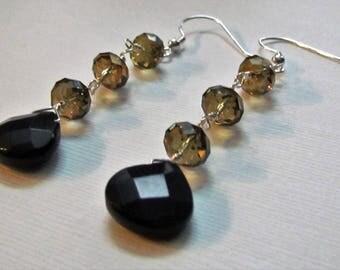 Handmade Teardrop Black Onyx Swarovski Crystal earrings