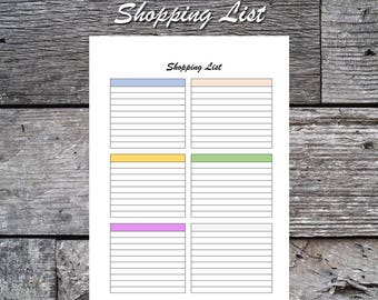 Printable Shopping List, Instant Download, A5, Letter Size
