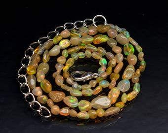 "Amazing Natural Ethiopian Opal Tumble 16"" Inch Strand Smooth Polish Opal necklace Size 3x4 to 5x7 mm Code- OT02"
