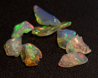 Natural Ethiopian Opal Multi Fire Polish Rough Gemstone Free Shape Size- 5 mm To 12 mm  Approx 8 PCs Lot Opal Rough Code-CT6