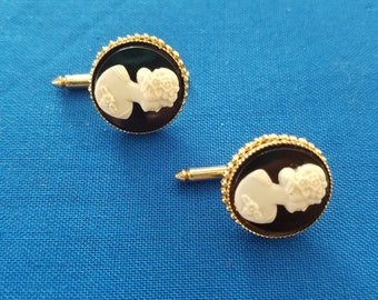 Vintage black and white cameo cufflinks