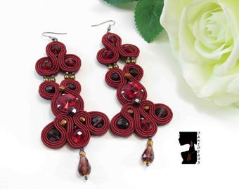 Red long soutaches earrings-red long soutaches earrings-elegant red earrings-red earrings-gift for her-S. Valentino