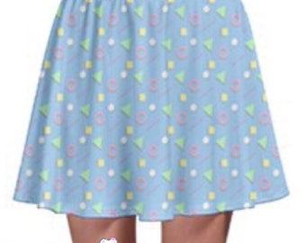 80s Party Skater Skirt - Blue