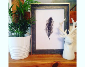 Framed Feather Watercolour Print