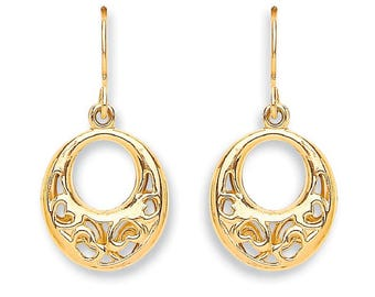 9ct Yellow Gold Filigree Hearts Oval Shaped Drop Hook Earrings