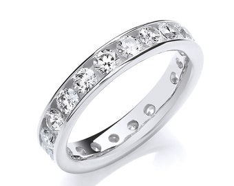 925 Sterling Silver 4mm Full Channel Set Cz Eternity Ring Hallmarked