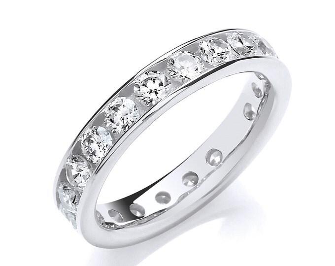 925 Sterling Silver 4mm Full Channel Set Cz Eternity Ring Hallmarked