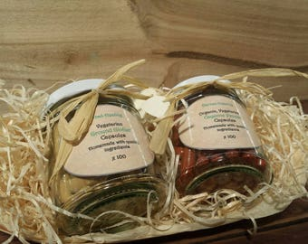 100 x Organic Cayenne Pepper + 100 x Ground Ginger, Handmade Vegetarian Capsule Gift Set