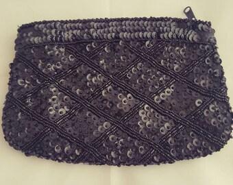 Beautiful Vintage Black Sequin La Regale Zipper Clutch