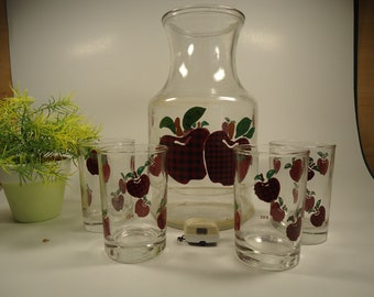 Anchor Hocking pitcher and 4 juice glasses , apple design