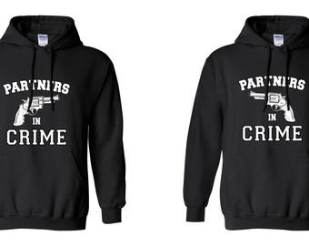 Partners in Crime COUPLE Printed Adult Unisex Hooded Sweatshirt  Hoodies for Men and Women Valentine's Day Matching Clothes