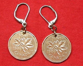 1986 earrings made with real under 1986 Canadian