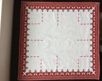 Vintage handmade table cloth - embroidered tablecloth - Bulgarian Folk Art - Old hand made tablecloth -Traditional Bulgarian Hand Embroidery