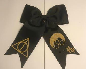 Harry Potter Hogwarts Deathly Hallows Grosgrain Hair Bow w Tails on Alligator Clip or Ponytail Holder for Girls or Women, Gold Glitter Vinyl