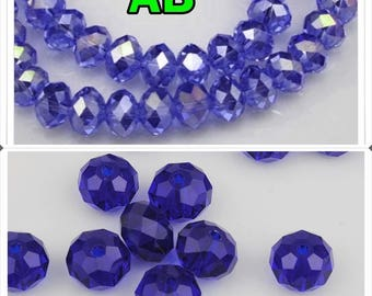 Choices: 8 x6mm / 6 x4mm / 4 x3mm Perle rondelle faceted Midnight blue glass 8 mm x 6 mm - 6 mm x 4 mm - 4 mm x 3 mm