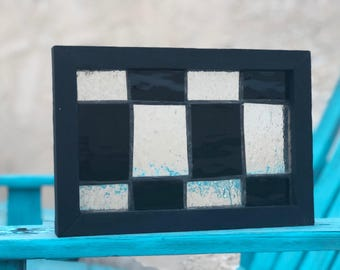 Hand crafted stained glaas in custom frame