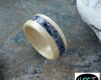 Bentwood Canadian Maple with muscle shell inlay alternative wedding rings