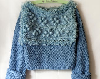 Light blue sweater handmade wool cables aran pullover jumper knitwear slouchy knit  bulky original
