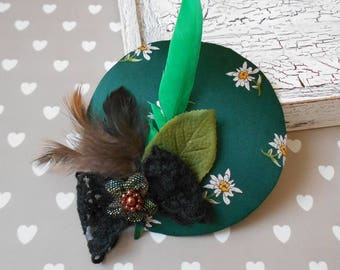 fascinator edelweiss with feathers