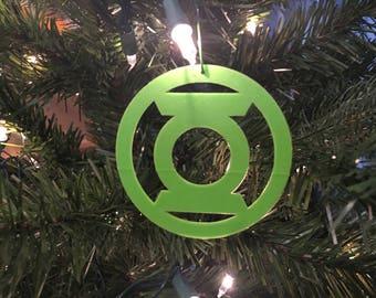 Green Lantern Symbol Tree Ornament 3D-Printed