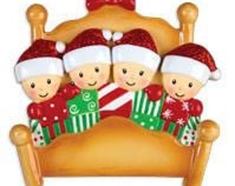 Bed Family of 4 Personalized Christmas Ornament