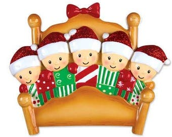 Bed Family of 5 Personalized Christmas Ornament