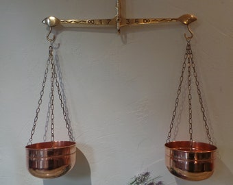 French Antique Copper Balance Scale Copper Decor Pots Brass Mount Copper Planter Copper Home Decor Cache-Pot French Copper Design DE39