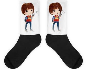 The upside down socks, Stranger things socks, Netflix socks, Movie socks, Lucas socks Stranger things, Lucas shirt, Stranger things Lucas