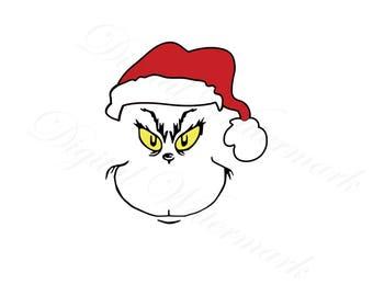 Fan Art Face SVG & Studio3 Cut The File Cutouts Files Logo Stencil for Silhouette Cricut Seuss Decals SVGS Grinch Decal Stole Christmas Dr