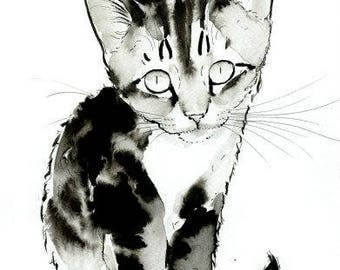 Little Kitten Original Watercolor Painting