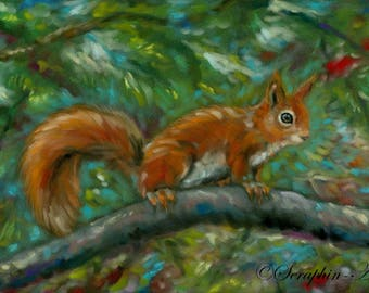 Red Squirrel Original Wildlife Pastel Painting