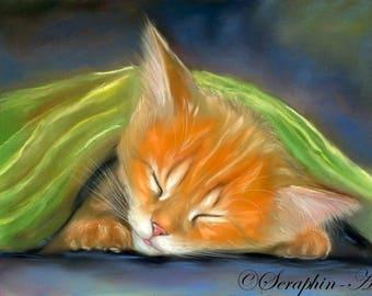 Sleepinge Ginger Cat Original Pastel Painting