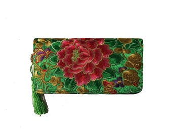 Wallet with flower Embroidery/Clutch Wallet