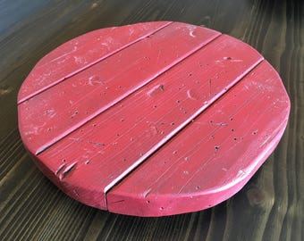 Distressed Red Lazy Susan
