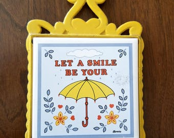 Vintage yellow umbrella trivet