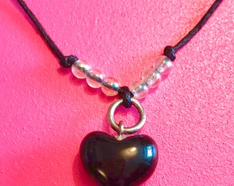 Black loveheart choker necklace