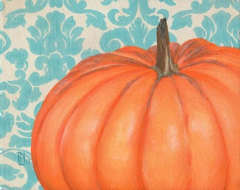 Pumpkin with Damask 8x10 Acrylic Painting