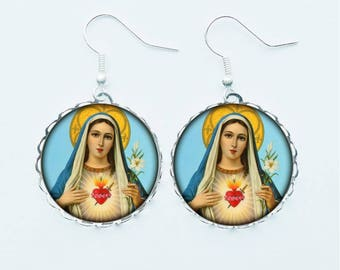 Virgin Mary Earrings Pendant Necklace Ring or Pin Badge Christian Religious Faith Spiritual Catholic Religion Jewellery Jewelry
