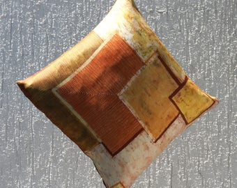 Batik Decorative pillow on silk: windows at sunset