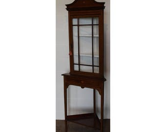 An Edwardian Inlaid Mahogany Astrical Glazed Corner Cupboard on Stand