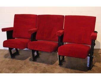 A Row of 3 Vintage C1930s Art Deco Cinema Theatre Seats