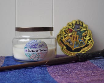 Pepperup Potion - Wizarding World - organic soy candle 8oz - handpoured aromatherapy natural candle - apothecary jar - essential oil