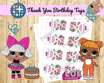 L.O.L Surprise Dolls - Custom Made Birthday Thank You Tags