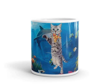 Cat Underwater Eating Pizza Mug